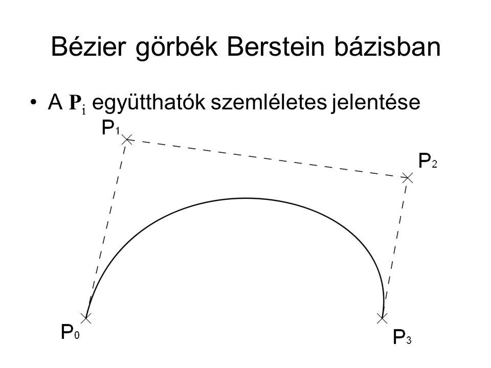 Bézier görbék Berstein bázisban A P i együtthatók szemléletes jelentése