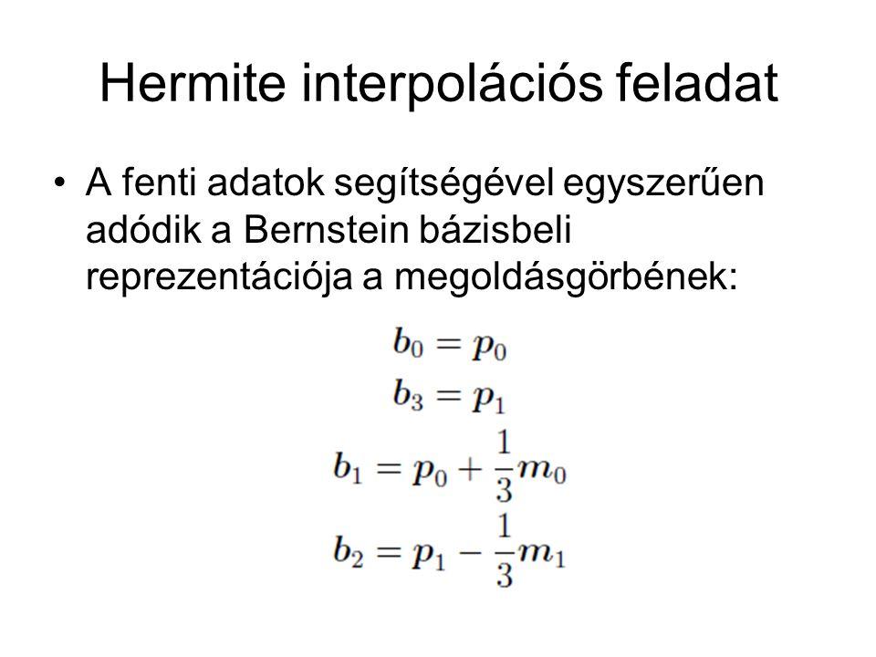 Hermite interpolációs feladat A fenti adatok segítségével egyszerűen adódik a Bernstein bázisbeli reprezentációja a megoldásgörbének: