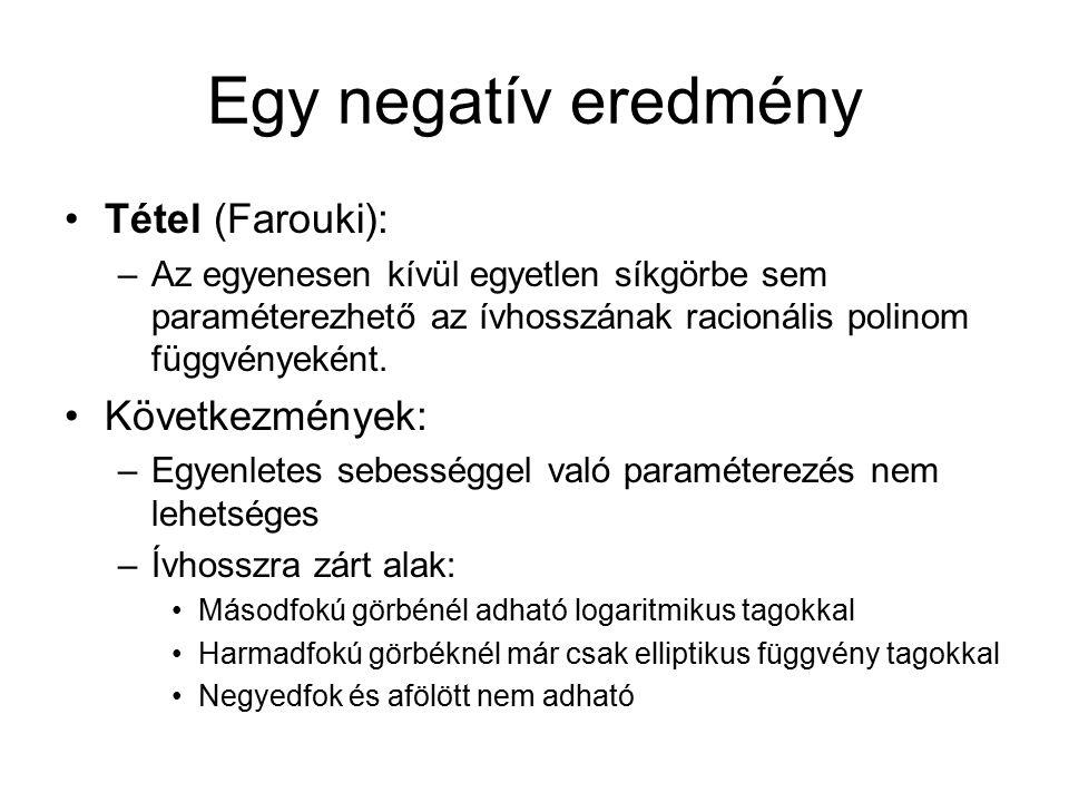 Egy negatív eredmény Tétel (Farouki): –Az egyenesen kívül egyetlen síkgörbe sem paraméterezhető az ívhosszának racionális polinom függvényeként. Követ