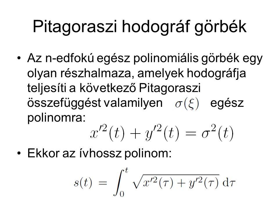 Pitagoraszi hodográf görbék Az n-edfokú egész polinomiális görbék egy olyan részhalmaza, amelyek hodográfja teljesíti a következő Pitagoraszi összefüg