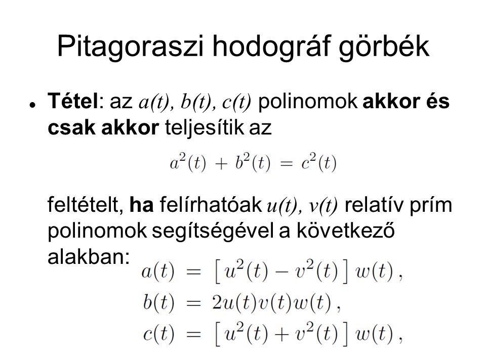 Pitagoraszi hodográf görbék Tétel: az a(t), b(t), c(t) polinomok akkor és csak akkor teljesítik az feltételt, ha felírhatóak u(t), v(t) relatív prím p
