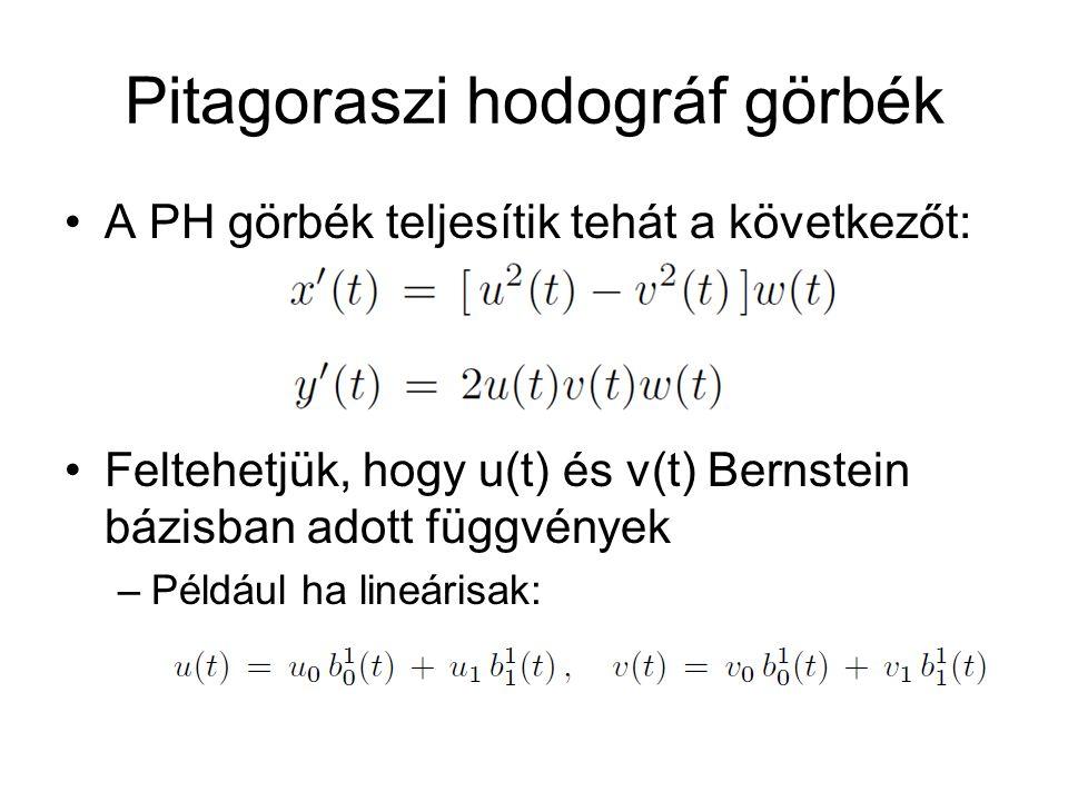 Pitagoraszi hodográf görbék A PH görbék teljesítik tehát a következőt: Feltehetjük, hogy u(t) és v(t) Bernstein bázisban adott függvények –Például ha