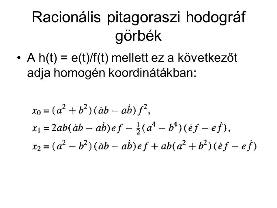 Racionális pitagoraszi hodográf görbék A h(t) = e(t)/f(t) mellett ez a következőt adja homogén koordinátákban: