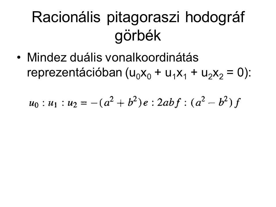 Racionális pitagoraszi hodográf görbék Mindez duális vonalkoordinátás reprezentációban (u 0 x 0 + u 1 x 1 + u 2 x 2 = 0):