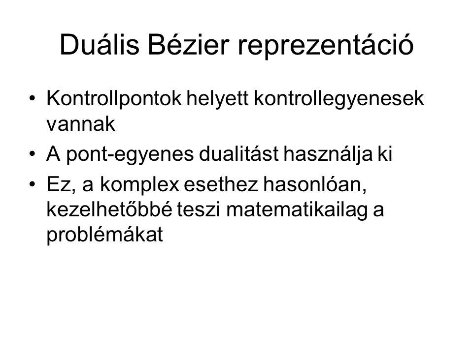 Duális Bézier reprezentáció Kontrollpontok helyett kontrollegyenesek vannak A pont-egyenes dualitást használja ki Ez, a komplex esethez hasonlóan, kez