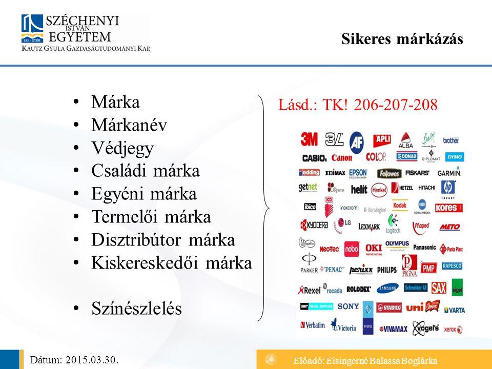 Márka Márkanév Védjegy Családi márka Egyéni márka Termelői márka Disztribútor márka Kiskereskedői márka Színészlelés Sikeres márkázás Lásd.: TK.