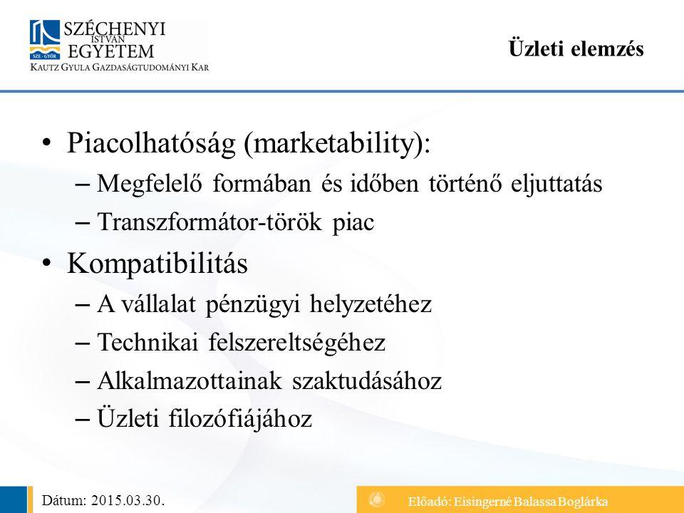 Piacolhatóság (marketability): – Megfelelő formában és időben történő eljuttatás – Transzformátor-török piac Kompatibilitás – A vállalat pénzügyi helyzetéhez – Technikai felszereltségéhez – Alkalmazottainak szaktudásához – Üzleti filozófiájához Üzleti elemzés Dátum: 2015.03.30.