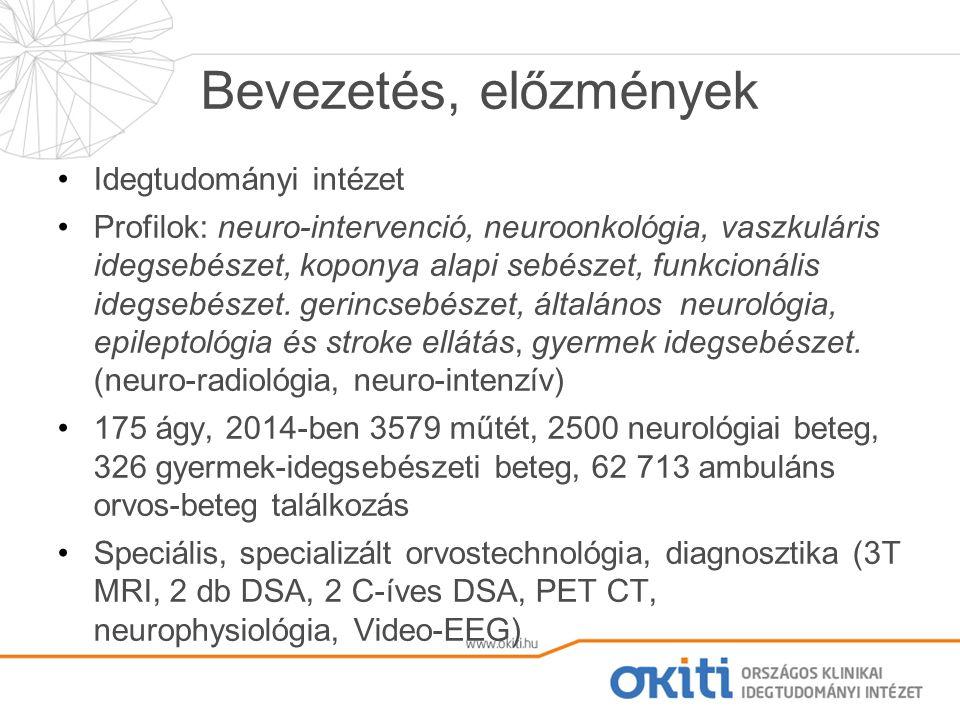 Bevezetés, előzmények Idegtudományi intézet Profilok: neuro-intervenció, neuroonkológia, vaszkuláris idegsebészet, koponya alapi sebészet, funkcionális idegsebészet.