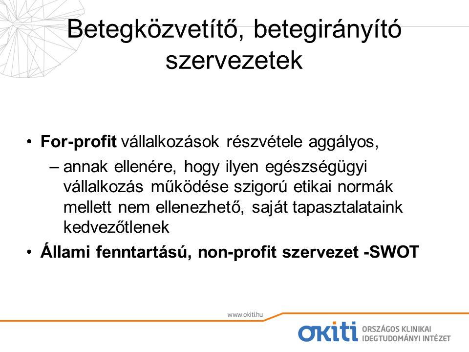 Betegközvetítő, betegirányító szervezetek For-profit vállalkozások részvétele aggályos, –annak ellenére, hogy ilyen egészségügyi vállalkozás működése szigorú etikai normák mellett nem ellenezhető, saját tapasztalataink kedvezőtlenek Állami fenntartású, non-profit szervezet -SWOT
