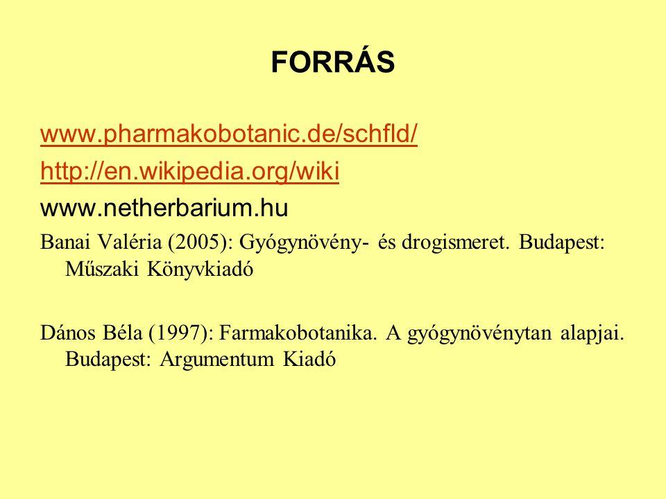 FORRÁS www.pharmakobotanic.de/schfld/ http://en.wikipedia.org/wiki www.netherbarium.hu Banai Valéria (2005): Gyógynövény- és drogismeret. Budapest: Mű
