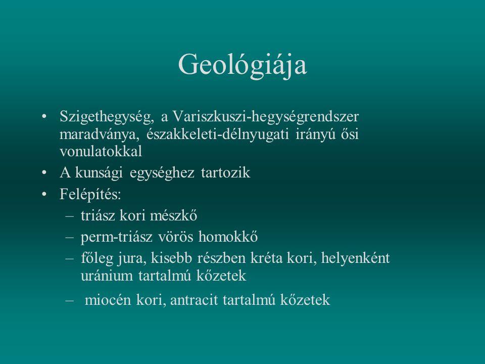 Geológiája Szigethegység, a Variszkuszi-hegységrendszer maradványa, északkeleti-délnyugati irányú ősi vonulatokkal A kunsági egységhez tartozik Felépí