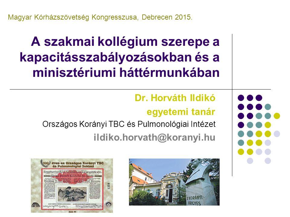 A szakmai kollégium szerepe a kapacitásszabályozásokban és a minisztériumi háttérmunkában Dr. Horváth Ildikó egyetemi tanár Országos Korányi TBC és Pu