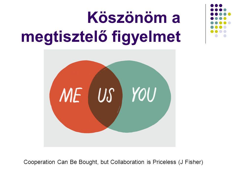 Köszönöm a megtisztelő figyelmet Cooperation Can Be Bought, but Collaboration is Priceless (J Fisher)