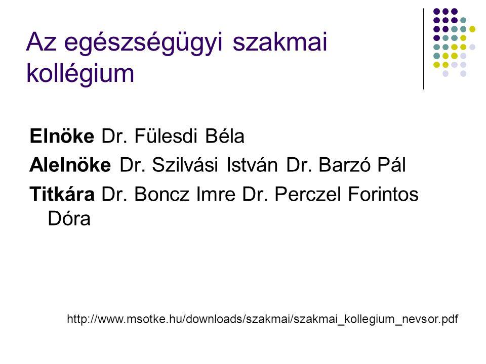 Az egészségügyi szakmai kollégium Elnöke Dr. Fülesdi Béla Alelnöke Dr. Szilvási István Dr. Barzó Pál Titkára Dr. Boncz Imre Dr. Perczel Forintos Dóra
