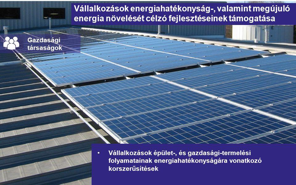 Vállalkozások energiahatékonyság-, valamint megújuló energia növelését célzó fejlesztéseinek támogatása Vállalkozások épület-, és gazdasági-termelési folyamatainak energiahatékonyságára vonatkozó korszerűsítések Gazdasági társaságok