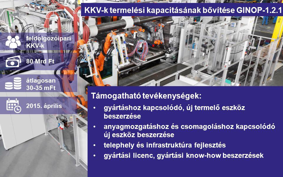 KKV-k termelési kapacitásának bővítése GINOP-1.2.1 gyártáshoz kapcsolódó, új termelő eszköz beszerzése anyagmozgatáshoz és csomagoláshoz kapcsolódó új eszköz beszerzése telephely és infrastruktúra fejlesztés gyártási licenc, gyártási know-how beszerzések feldolgozóipari KKV-k 80 Mrd Ft átlagosan 30-35 mFt 2015.