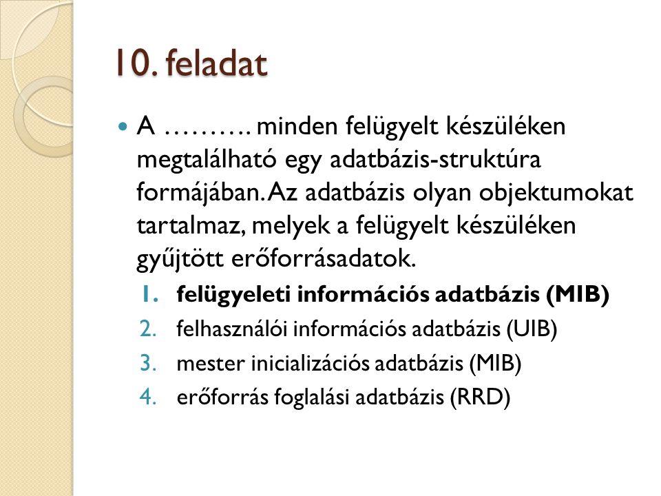10. feladat A ………. minden felügyelt készüléken megtalálható egy adatbázis-struktúra formájában.