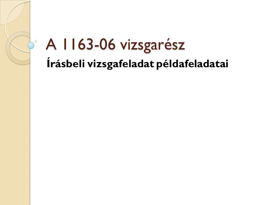A 1163-06 vizsgarész Írásbeli vizsgafeladat példafeladatai