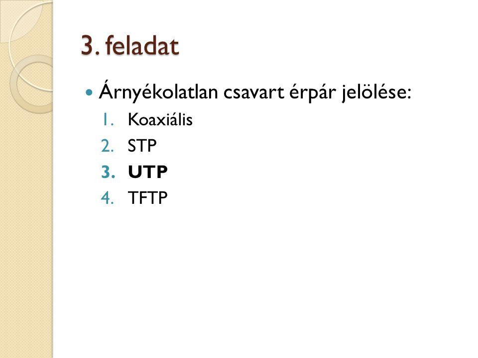 3. feladat Árnyékolatlan csavart érpár jelölése: 1.Koaxiális 2.STP 3.UTP 4.TFTP