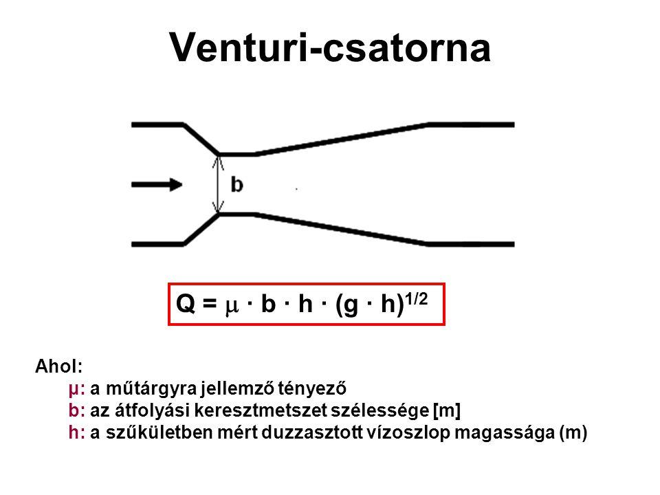 Venturi-csatorna Q =  ∙ b ∙ h ∙ (g ∙ h) 1/2 Ahol: μ: a műtárgyra jellemző tényező b: az átfolyási keresztmetszet szélessége [m] h: a szűkületben mért duzzasztott vízoszlop magassága (m)