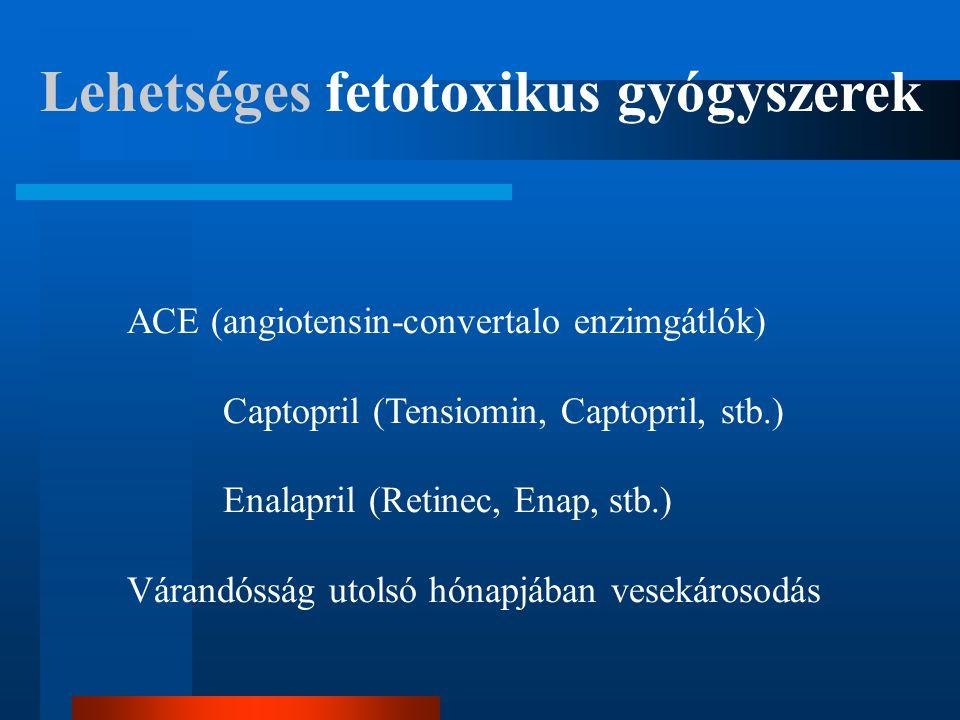 Lehetséges fetotoxikus gyógyszerek ACE (angiotensin-convertalo enzimgátlók) Captopril (Tensiomin, Captopril, stb.) Enalapril (Retinec, Enap, stb.) Vár