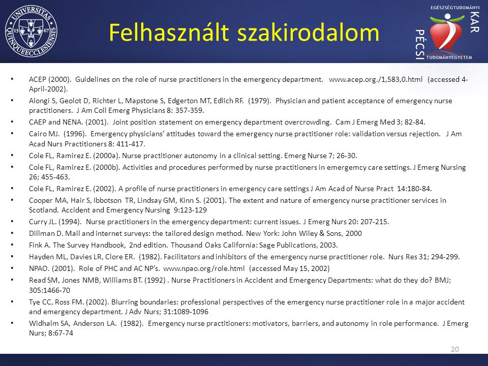Felhasznált szakirodalom ACEP (2000). Guidelines on the role of nurse practitioners in the emergency department. www.acep.org./1,583,0.html (accessed