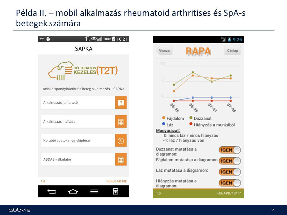Példa II. – mobil alkalmazás rheumatoid arthritises és SpA-s betegek számára 7