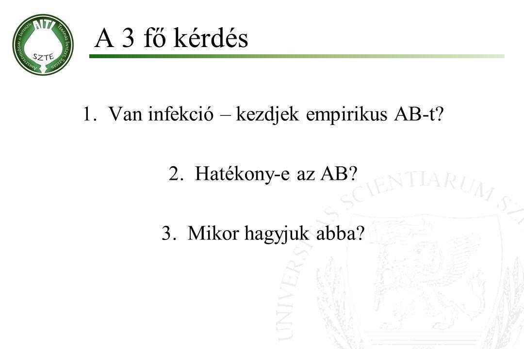 1.Van infekció – kezdjek empirikus AB-t? 2.Hatékony-e az AB? 3.Mikor hagyjuk abba? A 3 fő kérdés