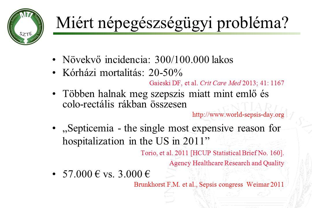 Miért népegészségügyi probléma? Növekvő incidencia: 300/100.000 lakos Kórházi mortalitás: 20-50% Gaieski DF, et al. Crit Care Med 2013; 41: 1167 Többe