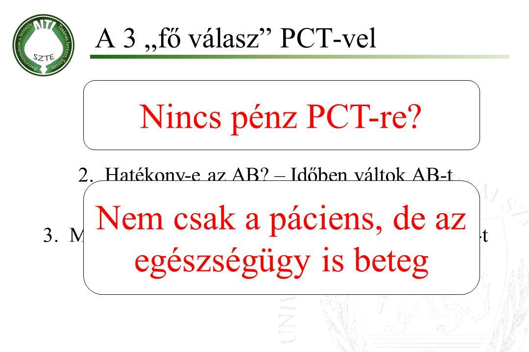 """1.Van infekció? – Merek nem adni AB-t 2.Hatékony-e az AB? – Időben váltok AB-t 3.Mikor hagyjuk abba? – Le merem állítani az AB-t A 3 """"fő válasz"""" PCT-v"""