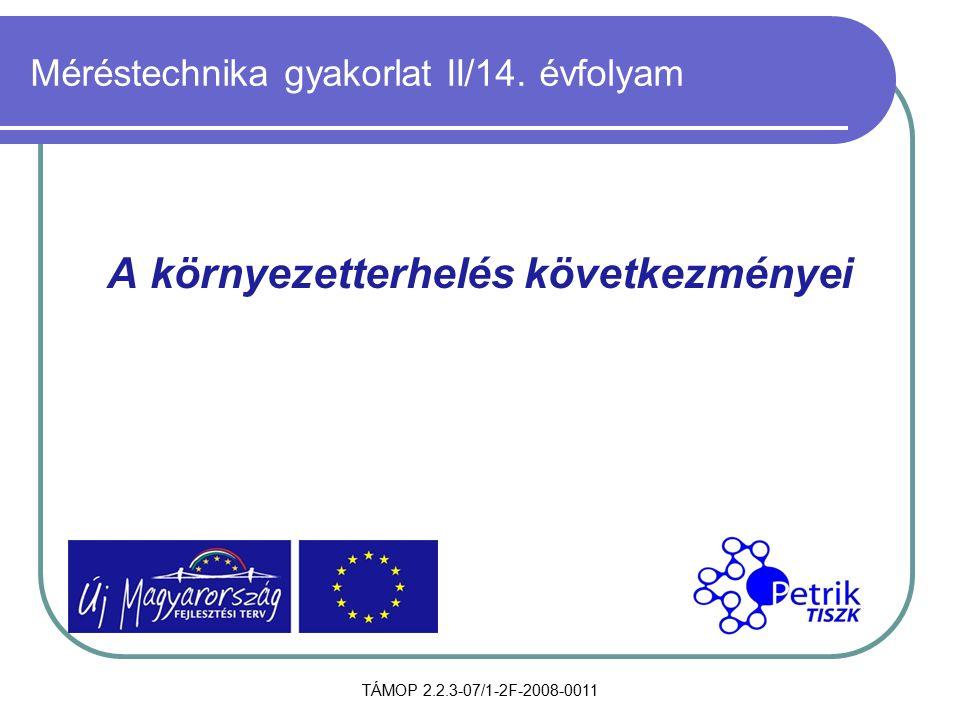 TÁMOP 2.2.3-07/1-2F-2008-0011 Méréstechnika gyakorlat II/14. évfolyam A környezetterhelés következményei