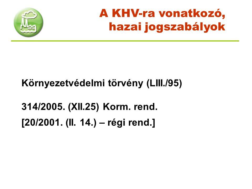 Környezetvédelmi törvény (LIII./95) 314/2005. (XII.25) Korm. rend. [20/2001. (II. 14.) – régi rend.] A KHV-ra vonatkozó, hazai jogszabályok