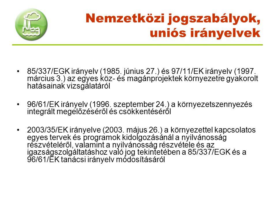 Nemzetközi jogszabályok, uniós irányelvek 85/337/EGK irányelv (1985. június 27.) és 97/11/EK irányelv (1997. március 3.) az egyes köz- és magánprojekt
