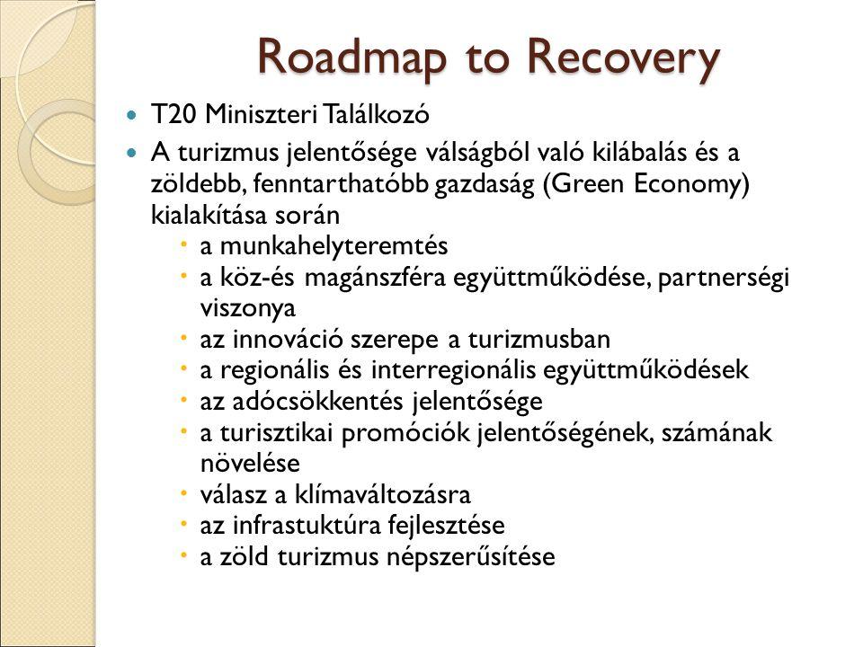 Roadmap to Recovery T20 Miniszteri Találkozó A turizmus jelentősége válságból való kilábalás és a zöldebb, fenntarthatóbb gazdaság (Green Economy) kialakítása során  a munkahelyteremtés  a köz-és magánszféra együttműködése, partnerségi viszonya  az innováció szerepe a turizmusban  a regionális és interregionális együttműködések  az adócsökkentés jelentősége  a turisztikai promóciók jelentőségének, számának növelése  válasz a klímaváltozásra  az infrastuktúra fejlesztése  a zöld turizmus népszerűsítése