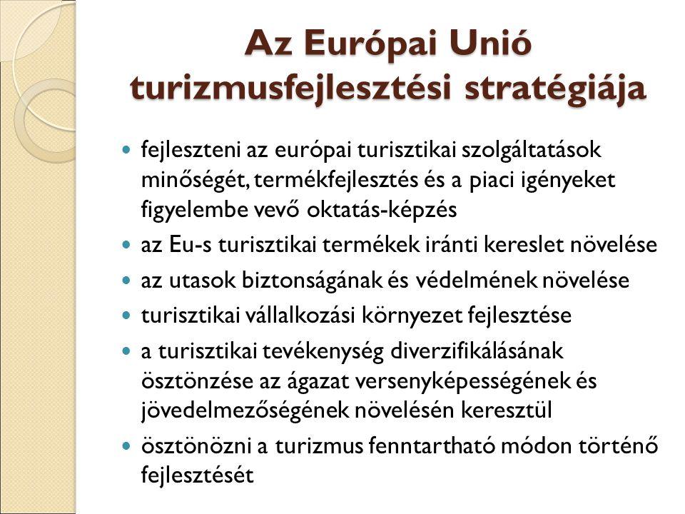 Az Európai Unió turizmusfejlesztési stratégiája fejleszteni az európai turisztikai szolgáltatások minőségét, termékfejlesztés és a piaci igényeket figyelembe vevő oktatás-képzés az Eu-s turisztikai termékek iránti kereslet növelése az utasok biztonságának és védelmének növelése turisztikai vállalkozási környezet fejlesztése a turisztikai tevékenység diverzifikálásának ösztönzése az ágazat versenyképességének és jövedelmezőségének növelésén keresztül ösztönözni a turizmus fenntartható módon történő fejlesztését