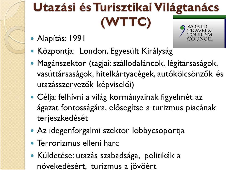 Utazási és Turisztikai Világtanács (WTTC) Alapítás: 1991 Központja: London, Egyesült Királyság Magánszektor (tagjai: szállodaláncok, légitársaságok, vasúttársaságok, hitelkártyacégek, autókölcsönzők és utazásszervezők képviselői) Célja: felhívni a világ kormányainak figyelmét az ágazat fontosságára, elősegítse a turizmus piacának terjeszkedését Az idegenforgalmi szektor lobbycsoportja Terrorizmus elleni harc Küldetése: utazás szabadsága, politikák a növekedésért, turizmus a jövőért