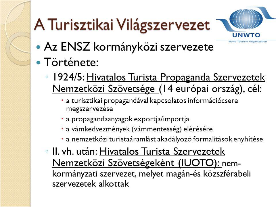 A Turisztikai Világszervezet Az ENSZ kormányközi szervezete Története: ◦ 1924/5: Hivatalos Turista Propaganda Szervezetek Nemzetközi Szövetsége (14 eu