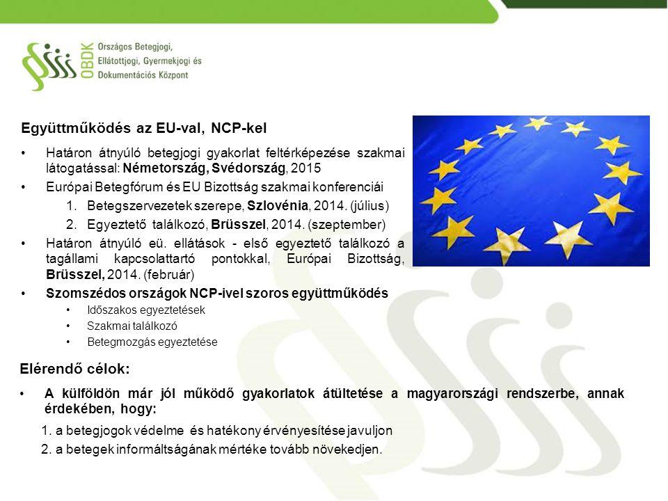 Együttműködés az EU-val, NCP-kel Határon átnyúló betegjogi gyakorlat feltérképezése szakmai látogatással: Németország, Svédország, 2015 Európai Betegf