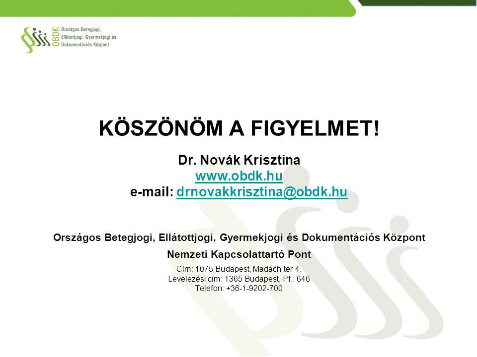 KÖSZÖNÖM A FIGYELMET! Dr. Novák Krisztina www.obdk.hu e-mail: drnovakkrisztina@obdk.hudrnovakkrisztina@obdk.hu Országos Betegjogi, Ellátottjogi, Gyerm