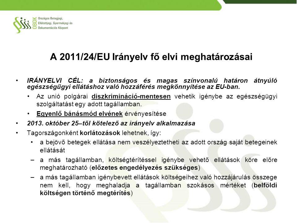 HOZZÁFÉRÉS –az uniós betegek hozzáférhetnek a közfinanszírozott (és magán) egészségügyi szolgáltatáshoz az alábbi két feltétel együttes teljesülése esetén: 1.az ellátásokat a magyar biztosítottakkal azonos feltételekkel vehetik igénybe, ÉS 2.az ellátások igénybevételének költségeit a belföldi költségmérték szerint meg kell fizetni a szolgáltatónak (www.oep.hu oldalon havonta)www.oep.hu ELLÁTÁS NYÚJTÁSA –külföldi beutaló alapján minden progresszivitási szinten történhet ellátás (ha a beutaló nem értelmezhető, az orvos magyarországi beutaló bemutatását kérheti) –az ellátások nyújtása a magyar szakmai szabályok szerint történik – várólistára való felkerülés is része ennek – egyenlő bánásmód alapelve szerint –főszabály: magyar nyelv használata az ellátás során Bejövő betegek 1.