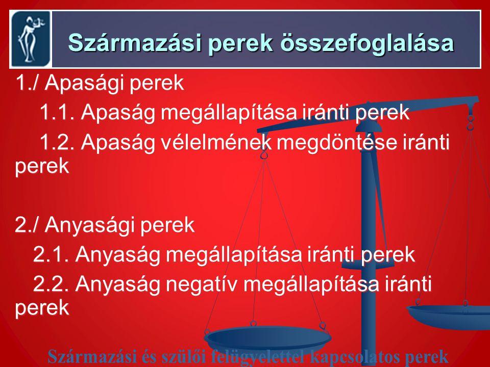 Származási perek összefoglalása Származási perek összefoglalása 1./ Apasági perek 1.1.