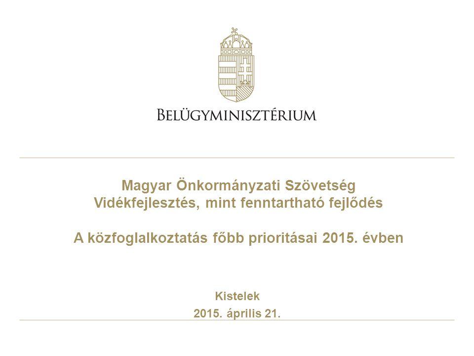Magyar Önkormányzati Szövetség Vidékfejlesztés, mint fenntartható fejlődés A közfoglalkoztatás főbb prioritásai 2015. évben Kistelek 2015. április 21.