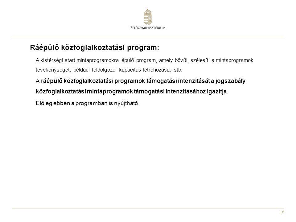16 Ráépülő közfoglalkoztatási program: A kistérségi start mintaprogramokra épülő program, amely bővíti, szélesíti a mintaprogramok tevékenységét, péld