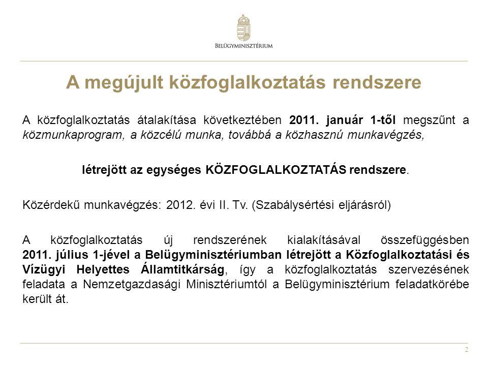 2 A közfoglalkoztatás átalakítása következtében 2011. január 1-től megszűnt a közmunkaprogram, a közcélú munka, továbbá a közhasznú munkavégzés, létre