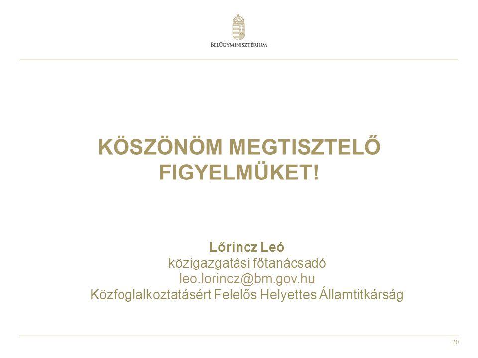 20 KÖSZÖNÖM MEGTISZTELŐ FIGYELMÜKET! Lőrincz Leó közigazgatási főtanácsadó leo.lorincz@bm.gov.hu Közfoglalkoztatásért Felelős Helyettes Államtitkárság