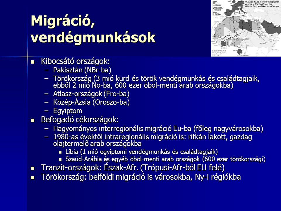 Migráció, vendégmunkások Kibocsátó országok: Kibocsátó országok: –Pakisztán (NBr-ba) –Törökország (3 mió kurd és török vendégmunkás és családtagjaik, ebből 2 mió No-ba, 600 ezer öböl-menti arab országokba) –Atlasz-országok (Fro-ba) –Közép-Ázsia (Oroszo-ba) –Egyiptom Befogadó célországok: Befogadó célországok: –Hagyományos interregionális migráció Eu-ba (főleg nagyvárosokba) –1980-as évektől intraregionális migráció is: ritkán lakott, gazdag olajtermelő arab országokba Líbia (1 mió egyiptomi vendégmunkás és családtagjaik) Líbia (1 mió egyiptomi vendégmunkás és családtagjaik) Szaúd-Arábia és egyéb öböl-menti arab országok (600 ezer törökországi) Szaúd-Arábia és egyéb öböl-menti arab országok (600 ezer törökországi) Tranzit-országok: Észak-Afr.