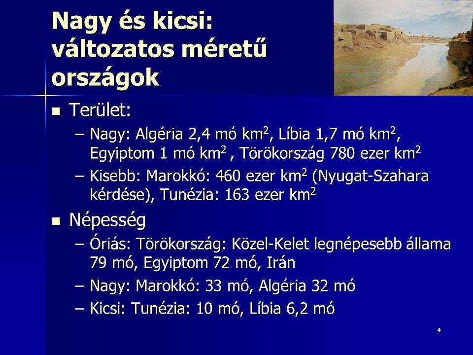 44 Nagy és kicsi: változatos méretű országok Terület: Terület: –Nagy: Algéria 2,4 mó km 2, Líbia 1,7 mó km 2, Egyiptom 1 mó km 2, Törökország 780 ezer km 2 –Kisebb: Marokkó: 460 ezer km 2 (Nyugat-Szahara kérdése), Tunézia: 163 ezer km 2 Népesség Népesség –Óriás: Törökország: Közel-Kelet legnépesebb állama 79 mó, Egyiptom 72 mó, Irán –Nagy: Marokkó: 33 mó, Algéria 32 mó –Kicsi: Tunézia: 10 mó, Líbia 6,2 mó