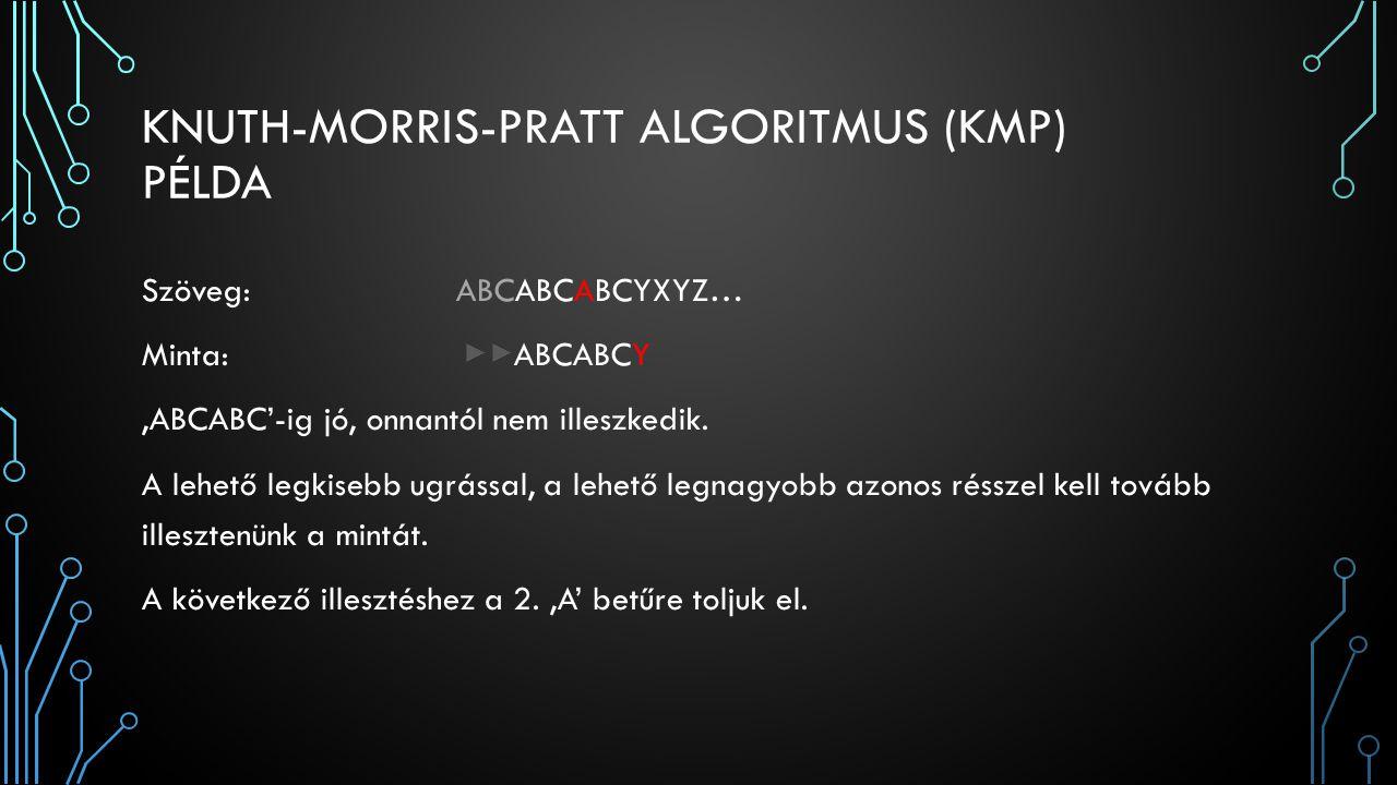 KNUTH-MORRIS-PRATT ALGORITMUS (KMP) PÉLDA Szöveg:ABCABCABCYXYZ… Minta: ABCABCY 'ABCABC'-ig jó, onnantól nem illeszkedik. A lehető legkisebb ugrással,