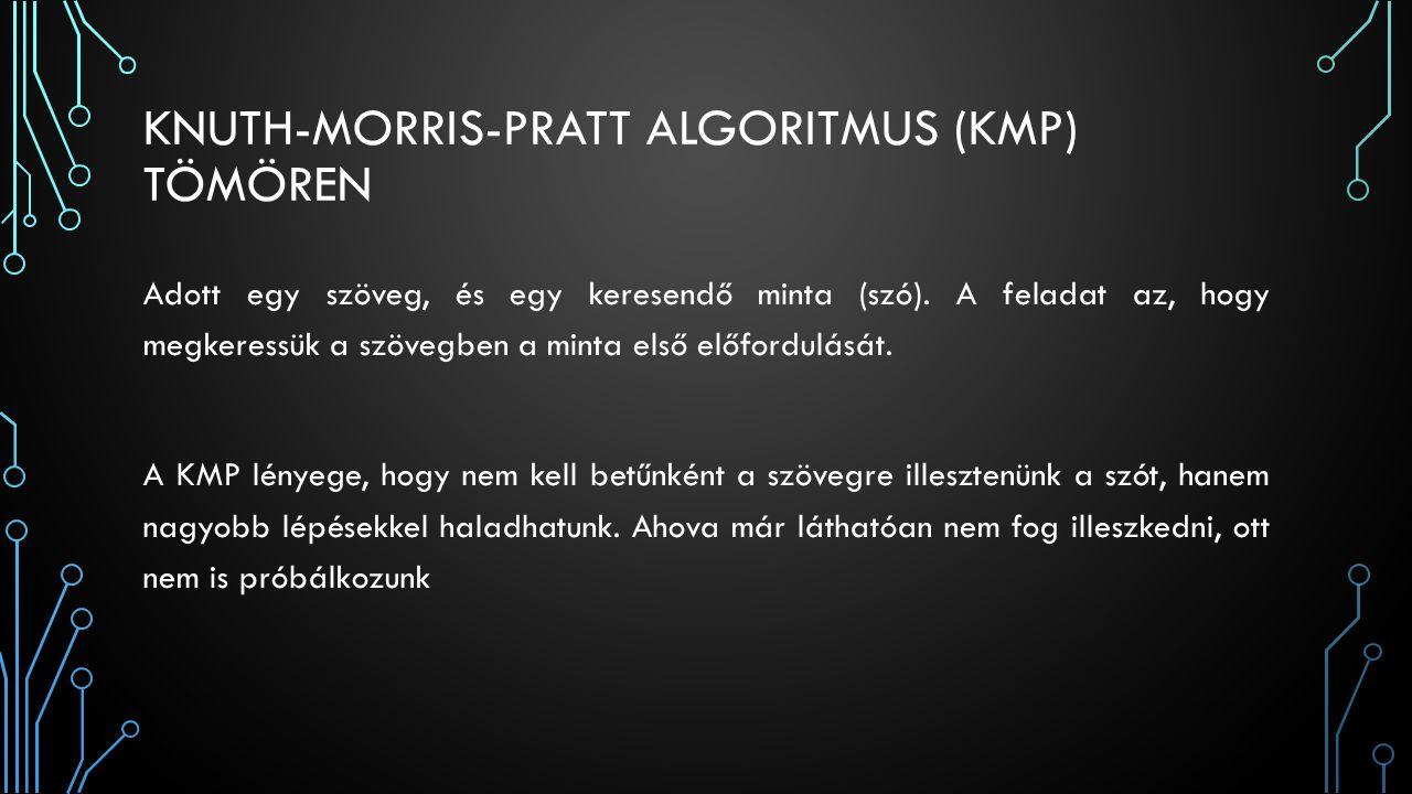 KNUTH-MORRIS-PRATT ALGORITMUS (KMP) TÖMÖREN Adott egy szöveg, és egy keresendő minta (szó). A feladat az, hogy megkeressük a szövegben a minta első el