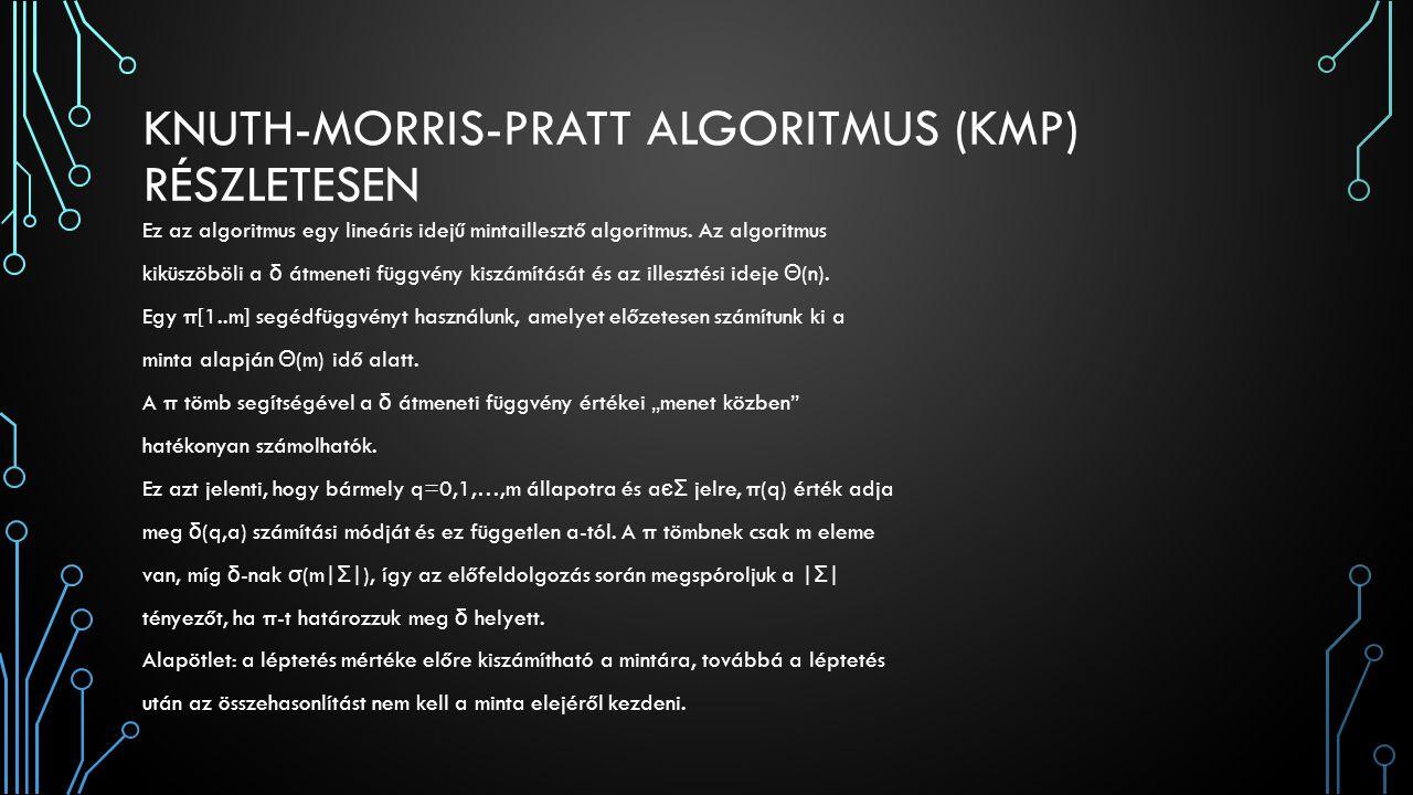 KNUTH-MORRIS-PRATT ALGORITMUS (KMP) RÉSZLETESEN Ez az algoritmus egy lineáris idejű mintaillesztő algoritmus. Az algoritmus kiküszöböli a δ átmeneti f
